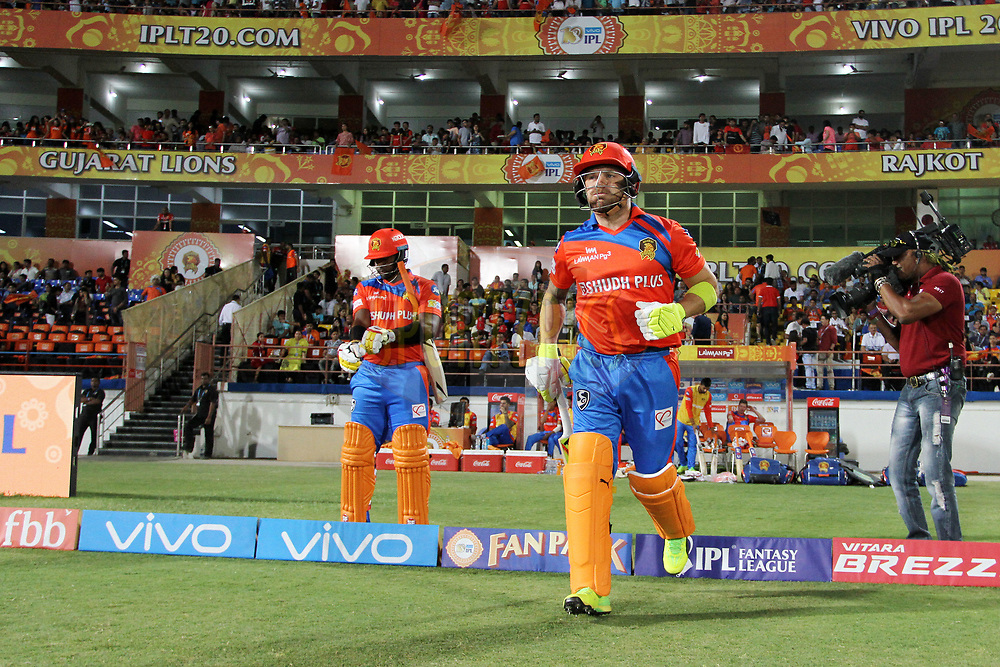 Brendon McCullum of the Gujarat Lions and Dwayne Smith of the Gujarat Lions arrive for the start of the 2nd inning of the match 20 of the Vivo 2017 Indian Premier League between the Gujarat Lions and the Royal Challengers Bangalore  held at the Saurashtra Cricket Association Stadium in Rajkot, India on the 18th April 2017<br /> <br /> Photo by Vipin Pawar - Sportzpics - IPL