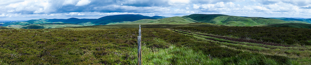 Mozie Law, Cheviot Hills, Scottish Borders, UK. Looking east across the Scottish English Border towards the Big Cheviot from Mozie Law (552m) on the Pennine Way.