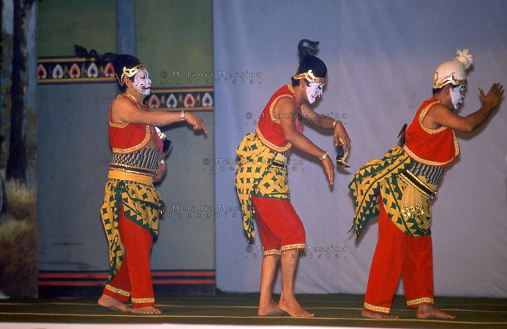Indonesia, Java island:performance of wayang orang.<br /> Indonesia; Giava, Yogyakarta: teatro con i wayang orang