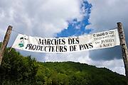 Farmers Market banner MARCHES DES PRODUCTEURS DE PAYS at St Amand de Coly, Dordogne, France