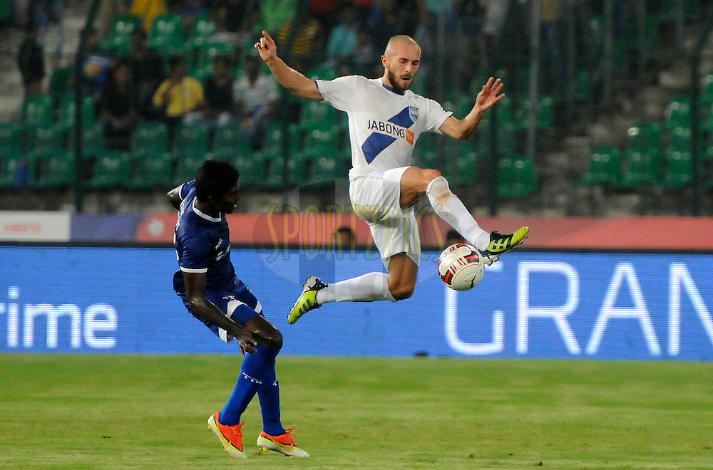 Jan Stohanzl of Mumbai City FC in action during match 15 of the Hero Indian Super League between Chennaiyin FC and Mumbai City FC held at the Jawaharlal Nehru Stadium, Chennai, India on the 28th October 2014.<br /> <br /> Photo by:  Pal Pillai/ ISL/ SPORTZPICS
