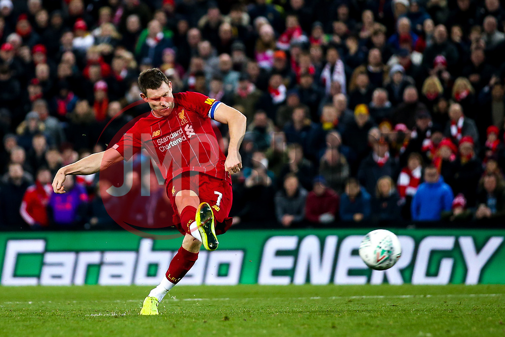 James Milner of Liverpool scores his penalty in the shootout against Liverpool in the Carabao Cup- Mandatory by-line: Robbie Stephenson/JMP - 30/10/2019 - FOOTBALL - Anfield - Liverpool, England - Liverpool v Arsenal - Carabao Cup