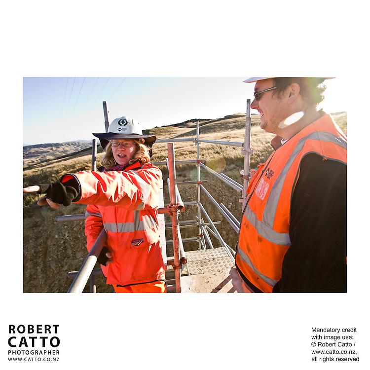 Brian Perry Civil / Fletcher Construction site at Lincolnshire Reservoir near Churton Park / Grenada, Wellington New Zealand.