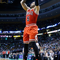 13 February 2013: Chicago Bulls power forward Carlos Boozer (5) takes a jumpshot during the Boston Celtics 71-69 victory over the Chicago Bulls at the TD Garden, Boston, Massachusetts, USA.