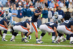 "Virginia quarterback Marc Verica (6) call an audible in action against UNC. The Virginia Cavaliers defeated the #18 ranked North Carolina Tar Heels 16-13 in overtime in NCAA football at Scott Stadium on the Grounds of the University of Virginia in Charlottesville, VA on October 18, 2008.  The 113th meeting of the two teams, dubbed the ""Oldest Rivalry in the South"", saw UVA continue its streak of consecutive home victories over UNC -- the last time the Tar Heels won in Charlottesville was 1981."