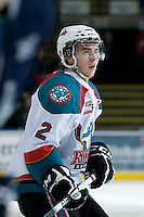 KELOWNA, CANADA, JANUARY 27: Jesse Lees #2 of the Kelowna Rockets skates on the ice as the Seattle Thunderbirds visit the Kelowna Rockets on January 27, 2012 at Prospera Place in Kelowna, British Columbia, Canada (Photo by Marissa Baecker) *** Local Caption ***