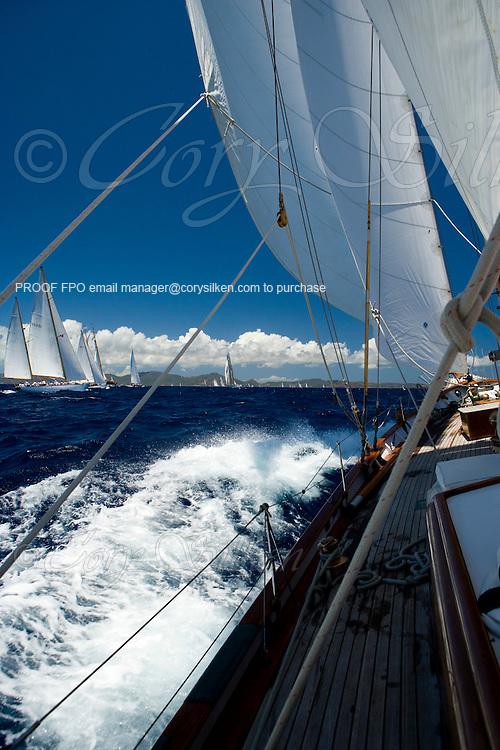 Ticonderoga and Lone Fox sailing the Cannon Race at the Antigua Classic Yacht Regatta.