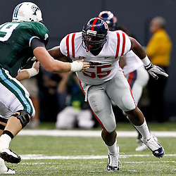 Sep 11, 2010; New Orleans, LA, USA; Mississippi Rebels defensive end Cameron Whigham (55) rushes against Tulane Green Wave tackle Eric Jones (79) during a game at the Louisiana Superdome. The Mississippi Rebels defeated the Tulane Green Wave 27-13.  Mandatory Credit: Derick E. Hingle