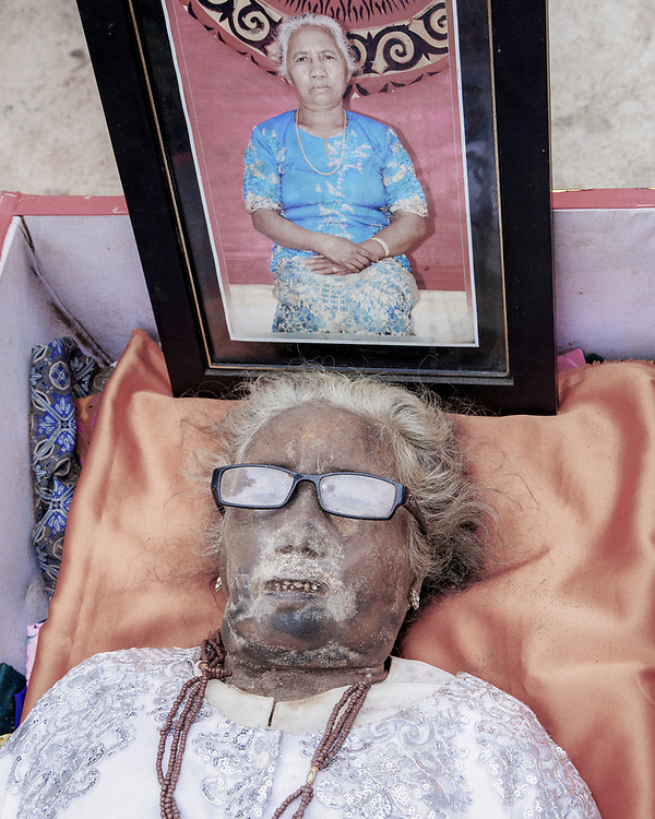 The body of Martha Limbong, who died in 2015 at age 72. <br /> <br /> Ma'nene is a tradition that takes place in August after harvest where the bodies of the dead loved ones are exhumed to be cleaned, groomed and dressed. For most, it's a bittersweet moment, a chance to reunite and physically see and touch and reconnect with loved ones who had passed on.