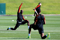 Eliaquim Mangala of Manchester City stretches - Mandatory by-line: Matt McNulty/JMP - 23/08/2016 - FOOTBALL - Manchester City - Training session ahead of Champions League qualifier against Steaua Bucharest