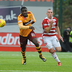 Cédric Kipré and Darian MacKinnon battle for the ball in the match between Hamilton Accies v Motherwell, Ladbrokes Premiership, The Super Seal Stadium, Saturday 14 October 2017  (c) Angie Isac | SportPix.org.uk