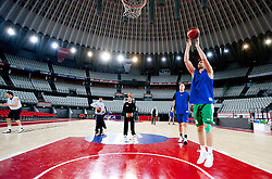 Saso Ozbolt of Olimpija during practice session of basketball club KK Union Olimpija day before Euroleague Top 16 Round Match vs Lottomatica Roma, on January 19, 2011 in Arena PalaLottomatica, Rome, Italy. (Photo By Vid Ponikvar / Sportida.com)