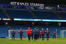 Bristol City players walk on the pitch before kick off - Mandatory by-line: Matt McNulty/JMP - 09/01/2018 - FOOTBALL - Etihad Stadium - Manchester, England - Manchester City v Bristol City - Carabao Cup Semi-Final First Leg