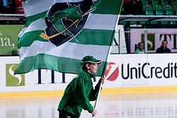 Kid with flag of HDD Tilia Olimpija during ice-hockey match between HDD Tilia Olimpija and HK Acroni Jesenice in second game of Final at Slovenian National League, on April 3, 2011 at Hala Tivoli, Ljubljana, Slovenia. (Photo By Matic Klansek Velej / Sportida.com)
