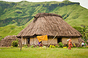 Traditional Fijian bure in Navala Village, Nausori Highlands, Viti Levu Island, Fiji.