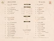 Irish Rugby Football Union, Ireland v Wales, Five Nations, Landsdowne Road, Dublin, Ireland, Saturday 15th March, 1958,.15.3.1958, 3.15.1958,..Referee- Dr N M Parkes, Rugby Football Union, ..Score- Ireland 6 - 9 Wales,..Irish Team, ..J G M W Murphy, Wearing number 15 Irish jersey, Full Back, London Irish Rugby Football Club, Surrey, England, ..A J O'Reilly, Wearing number 14 Irish jersey, Right Wing, Old Belvedere Rugby Football Club, Dublin, Ireland,  ..N J Henderson, Wearing number 13 Irish jersey, Captain of the Irish team, Right centre, N.I.F.C, Rugby Football Club, Belfast, Northern Ireland, ..D Hewitt, Wearing number 12 Irish jersey, Left centre, Queens University Rugby Football Club, Belfast, Northern Ireland,..A C Pedlow, Wearing number 11 Irish jersey, Left wing,  C I Y M S Rugby Football Club, Belfast, Northern Ireland, ..M A English, Wearing number 10 Irish jersey, Outside Half, Bohemians Rugby Football Club, Limerick, Ireland, ..J A O'Meara, Wearing number 9 Irish jersey, Scrum Half, Dolphin Rugby Football Club, Cork, Ireland, ..P J O'Donoghue, Wearing  Number 1 Irish jersey, Forward, Bective Rangers Rugby Football Club, Dublin, Ireland, ..A R Dawson, Wearing number 2 Irish jersey, Forward, Wanderers Rugby Football Club, Dublin, Ireland, . .B G Wood, Wearing number 3 Irish jersey, Forward, Garryowen Rugby Football Club, Limerick, Ireland, ..J B Stevenson, Wearing number 4 Irish jersey, Forward, Instonians Rugby Football Club, Belfast, Northern Ireland,..W A Mulcahy, Wearing number 5 Irish jersey, Forward, University College Dublin Rugby Football Club, Dublin, Ireland, ..J A Donaldson, Wearing number 6 Irish jersey, Forward, Collegians Rugby Football Club, Belfast, Northern Ireland, ..J R Kavanagh, Wearing number 7 Irish jersey, Forward, Wanderers Rugby Football Club, Dublin, Ireland, ..N A Murphy, Wearing number 8 Irish jersey, Forward, Cork Constitution Rugby Football Club, Cork, Ireland,..Welsh Team, ..A J Priday, Wearing number 1 Welsh jersey, Full Ba