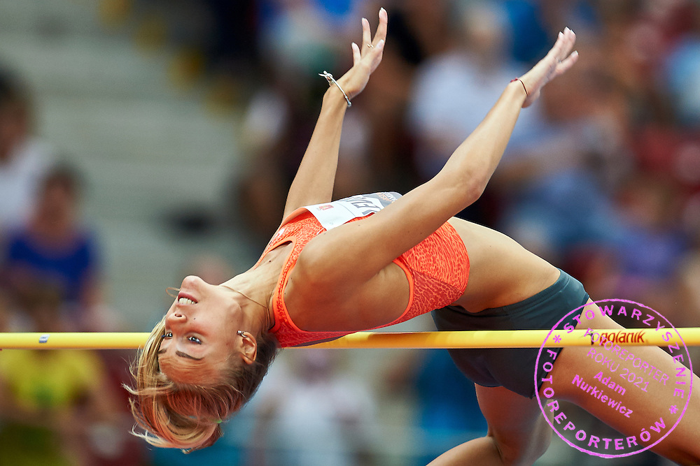 Warsaw, Poland - 2016 August 28: Yuliya Levchenko from Ukraine competes in women's high jump competition during athletics meeting Kamila Skolimowska Memorial 2016 at PGE National Stadium  August 28, 2016 w Warsaw, Poland.<br /> <br /> Adam Nurkiewicz declares that he has no rights to the image of people at the photographs of his authorship.<br /> <br /> Picture also available in RAW (NEF) or TIFF format on special request.<br /> <br /> Any editorial, commercial or promotional use requires written permission from the author of image.<br /> <br /> Mandatory credit:<br /> Photo by &copy; Adam Nurkiewicz