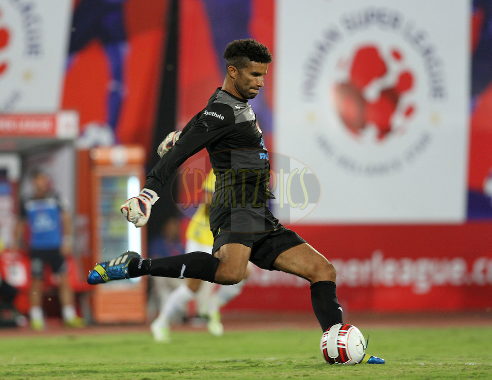 David James of Kerala Blasters FC in action during match 17 of the Hero Indian Super League between FC Pune City and Kerala Blasters FC held at the Shree Shiv Chhatrapati Sports Complex Stadium, Pune, India on the 30th October 2014.<br /> <br /> Photo by:  Vipin Pawar/ ISL/ SPORTZPICS