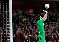 Football - 2018 / 2019 EFL Carabao Cup (League Cup) - Quarter-Final: Arsenal vs. Tottenham Hotspur<br /> <br /> Petr Cech (Arsenal FC) parries away the drive of Harry Kane (Tottenham FC)  at The Emirates.<br /> <br /> COLORSPORT/DANIEL BEARHAM