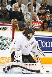 November 9, 2010; San Jose, CA, USA;  Anaheim Ducks goalie Jonas Hiller (1) makes a save against the San Jose Sharks during the second period at HP Pavilion. Mandatory Credit: Jason O. Watson / US PRESSWIRE