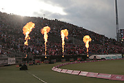 Fireworks by Lancashire during the Vitality T20 Blast North Group match between Lancashire County Cricket Club and Yorkshire County Cricket Club at the Emirates, Old Trafford, Manchester, United Kingdom on 20 July 2018. Picture by George Franks.