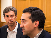 22 AUGUST 2019 - DES MOINES, IOWA: BETO O'ROURKE (D-TX), listens to JOSH MANDELBAUM, a Des Moines City Councilperson, during  a gun safety roundtable O'Rourke hosted in the Iowa State Capitol in Des Moines. He is back on the campaign trail seeking the Democratic nomination for the US Presidency after pausing his campaign when a white supremacist massacred 22 people in El Paso, TX, O'Rourke's hometown. Iowa traditionally hosts the first selection event of the presidential election cycle. The Iowa Caucuses are Feb. 3, 2020.       PHOTO BY JACK KURTZ