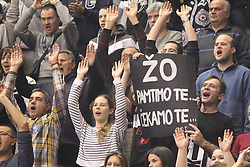 Fans Partizan na utakmici Jadranske ABA lige protiv Olimpije Ljubljana u hali Pionir, Beograd 10.01.2015. godine Foto: Marko Metlas<br /> Kosarka, Partizan, Jadranska ABA liga, Olimpija Ljubljana