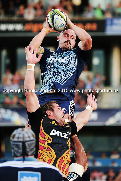Hayden Triggs of the Blues wins a lineout. Super Rugby match, Blues v Chiefs at QBE Stadium, Auckland, New Zealand. Saturday 14 February 2015. Photo: Anthony Au-Yeung / www.photosport.co.nz