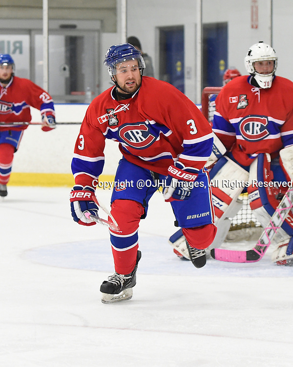 TORONTO, ON - Oct 11, 2015 : Ontario Junior Hockey League game action between Oakville and Toronto,  Dante Cannatella #3 of the Toronto Jr. Canadiens pursues the play during the second period.<br /> (Photo by Andy Corneau / OJHL Images)