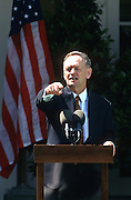 Canadian Prime Minister Jean Chrétien during a joint press conference with President Bill Clinton in the Rose Garden April 8, 1997 in the White House.