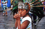 16 JANUARY 2002, GUANAJUATO, GUANAJUATO, MEXICO: An Aztec dancer in front of Templo de Pardoe Catholic Church during a service honoring the Virgin of Guadalupe in the city of Gunajuato, state of Guanajuato, Mexico, Jan. 16, 2002. .PHOTO BY JACK  Kurtz
