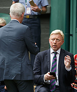 John McEnroe begruesst BORIS BECKER, TV Kommentator auf dem Centre Court<br /> <br /> Tennis - Wimbledon 2016 - Grand Slam ITF / ATP / WTA -  AELTC - London -  - Great Britain  - 16 July 2017.