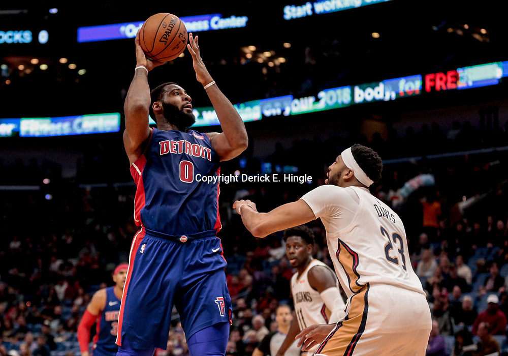 Jan 8, 2018; New Orleans, LA, USA; Detroit Pistons center Andre Drummond (0) shoots as New Orleans Pelicans forward Anthony Davis (23) defends during the first quarter at the Smoothie King Center. Mandatory Credit: Derick E. Hingle-USA TODAY Sports