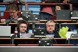 BIRMINGHAM, ENGLAND - Saturday, August 25, 2012: BBC Radio Merseyside's Ian Kennedy and Everton pundit Ronnie Goodlass in the press box before the Premiership match against Aston Villa at Villa Park. (Pic by David Rawcliffe/Propaganda)