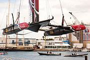 America's Cup Village, Bermuda. 12th June 2017. Emirates Team New Zealand launch is closely watched by Landrover BAR and Oracle Racing. Final day of the Louis Vuitton America's Cup Challenger playoff finals against Artemis Racing (SWE). ETNZ start the day ahead 4 - 2, needing one win to become Challenger for the America's Cup.
