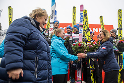 March 9, 2019 - Oslo, NORWAY - 190309 Robert Johansson, Robin Pedersen and Johann Andre Forfang of Norway celebrate at the podium after men team competition during the FIS Ski-Jumping World Cup on March 9, 2019 in Oslo..Photo: Fredrik Varfjell / BILDBYRÃ…N / kod FV / 150213. (Credit Image: © Fredrik Varfjell/Bildbyran via ZUMA Press)