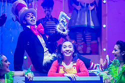 """© Licensed to London News Pictures. 23/11/2018. LONDON, UK. Mark Pickering (2L) as Cat in the Hat an Anna Barnes (2R) as JoJo perform during the photocall for Immersion Theatre's performance of """"Seussical the Musical"""" at Southwark Playhouse.  Shows take place 22 November to 29 December 2018.  Directed by James Tobias, the fantastical world of Dr. Seuss is brought to life in a musical co-conceived by Monty Python's Eric Idle.  Photo credit: Stephen Chung/LNP"""