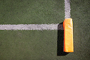 An end zone pylon lays on its side during a game between Milpitas High School and Woodside at Milpitas High School in Milpitas, California, on September 13, 2013. The Trojans went on to beat the Wildcats 50-6. (Stan Olszewski/SOSKIphoto)