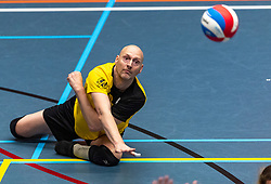 20-04-2019 NED: Dirk Kuyt Foundation Cup, Veenendaal<br /> National Cup sitting volleyball in Veenendaal / vv Apollo Mill vs. BVC Holyoke, Geert van den Heuvel #1