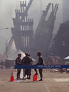 Military personal gurad what remains of The World Trade Center in lower Manhattan Sept.14, 2001.