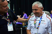 (L) Jaroslaw Duda and (R) SO Poland athlete Michal Krcil in action while badminton competition during fifth day of the Special Olympics World Games Los Angeles 2015 on July 29, 2015 at Los Angeles Convention Centre in Los Angeles, USA.<br /> <br /> USA, Los Angeles, July 29, 2015<br /> <br /> Picture also available in RAW (NEF) or TIFF format on special request.<br /> <br /> For editorial use only. Any commercial or promotional use requires permission.<br /> <br /> Adam Nurkiewicz declares that he has no rights to the image of people at the photographs of his authorship.<br /> <br /> Mandatory credit:<br /> Photo by &copy; Adam Nurkiewicz / Mediasport