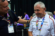 (L) Jaroslaw Duda and (R) SO Poland athlete Michal Krcil in action while badminton competition during fifth day of the Special Olympics World Games Los Angeles 2015 on July 29, 2015 at Los Angeles Convention Centre in Los Angeles, USA.<br /> <br /> USA, Los Angeles, July 29, 2015<br /> <br /> Picture also available in RAW (NEF) or TIFF format on special request.<br /> <br /> For editorial use only. Any commercial or promotional use requires permission.<br /> <br /> Adam Nurkiewicz declares that he has no rights to the image of people at the photographs of his authorship.<br /> <br /> Mandatory credit:<br /> Photo by © Adam Nurkiewicz / Mediasport