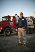 Scott Barefoot is co-owner of Barefoot Septic in Caledonia, New York on Monday, October 12, 2015. Scott shares ownership of the business with his father, Jon, who started the company in 1961.