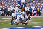 September 11, 2016: Detroit Lions running back Theo Riddick (25) dives just short of the end zone during the week 1 NFL game between the Detroit Lions and Indianapolis Colts at Lucas Oil Stadium in Indianapolis, IN.  (Photo by Zach Bolinger/Icon Sportswire)