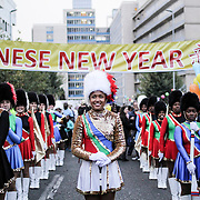 A team of majorettes are standing before the launch of the Chinese New Year show in Commissionner Street, Johannesburg. Saturday 21st February 2015, Johannesburg. (Miora Rajaonary)
