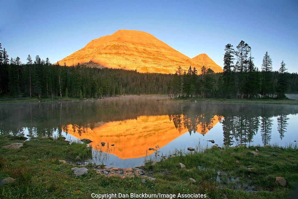 Sunrise on Bald Mountain Reflected in Mirror Lake Uinta Mountains Utah