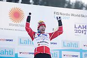 LAHTIS, FINLAND - 5 MARS: Alex Harvey jublar &ouml;ver segern under herrarnas 50 km mass start under FIS Nordic World Ski Championships den 5 mars , 2017 i Lahti, Finland. <br /> Foto: Nils Petter Nilsson/Ombrello<br /> ***BETALBILD***