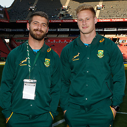 Willie le Roux of South Africa with Jean-Luc du Preez of South Africa during the 2018 Castle Lager Incoming Series 1st Test match between South Africa and England at Emirates Airline Park,<br /> Johannesburg.South Africa. 09,06,2018 Photo by (Steve Haag Sports)