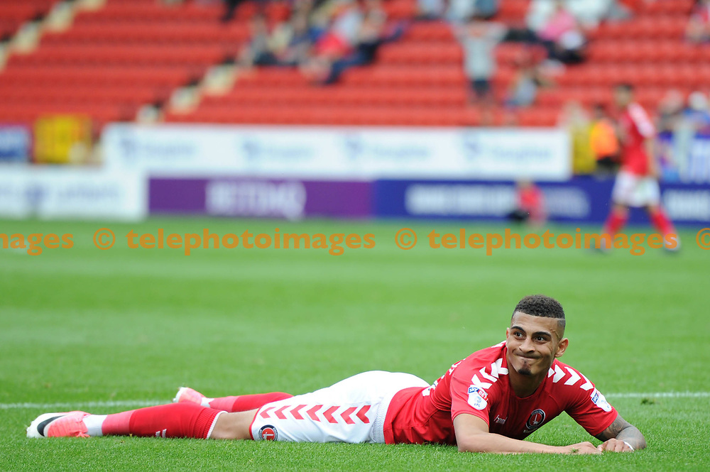 Karlan Ahearne-Grant of Charlton reacts to a missed chance during the Sky Bet League 1 match between Charlton Athletic and Bury at The Valley in London. 23 Sep 2017
