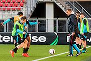 ALKMAAR - 19-10-2016, training persconferentie AZ, AFAS Stadion, AZ speler Mattias Johansson, AZ speler Levi Garcia, AZ trainer John van den Brom
